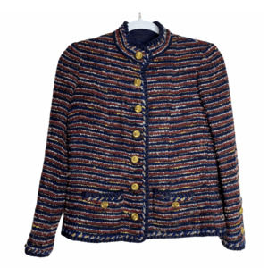 RARE 1960s CHANEL Couture Tweed Wool Navy Blazer S